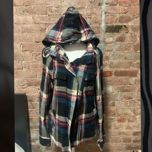 All Saints Flannel Hoodie Shirt/Button Down
